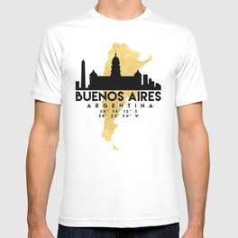 BUENOS AIRES ARGENTINA SILHOUETTE SKYLINE MAP ART T-shirt