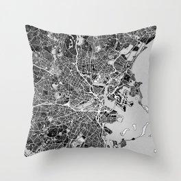 Boston Map With Coordinates Throw Pillow