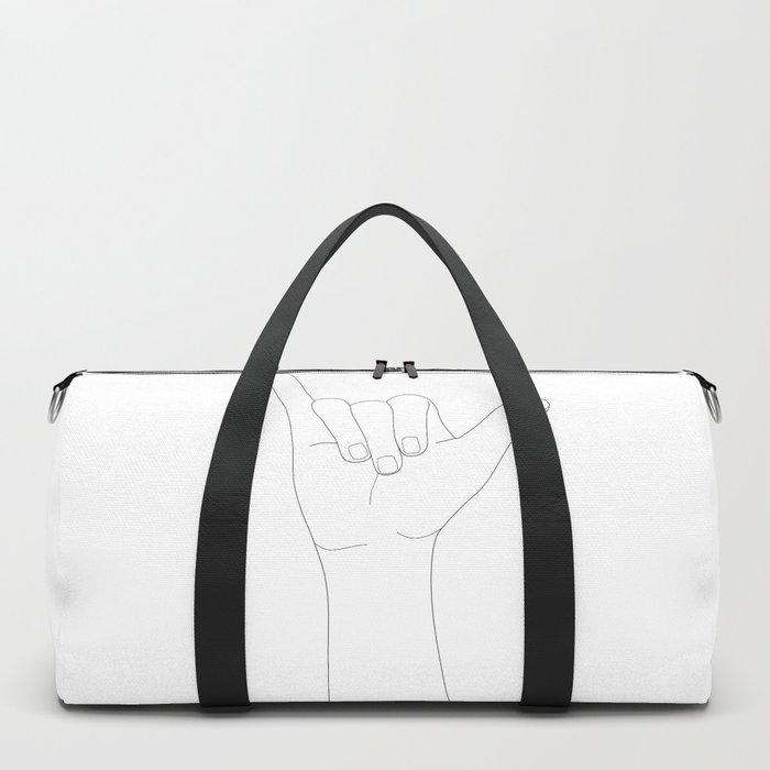 Minimal Line Art Shaka Hand Gesture Duffle Bag