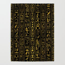 Egyptian Ancient Gold hieroglyphs on black Poster