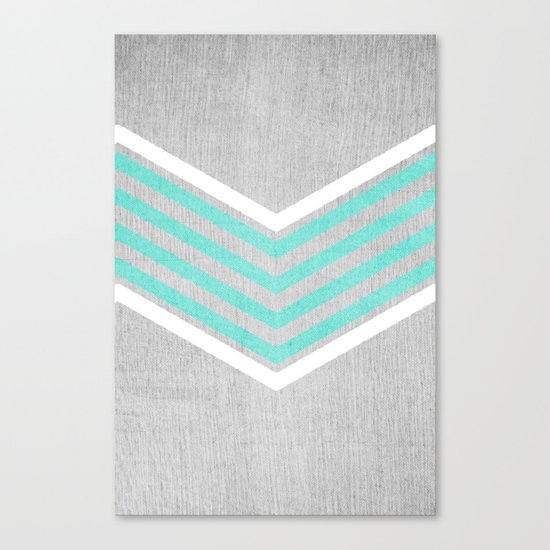 Teal and White Chevron on Silver Grey Wood Canvas Print