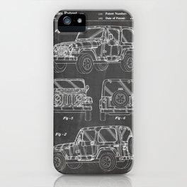 Jeep Wrangler Patent - Jeep Art - Black Chalkboard iPhone Case