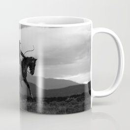Black and White Cowboy Being Bucked Off Coffee Mug