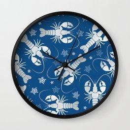 Lobster Love Classic Blue Wall Clock