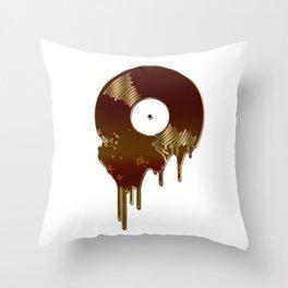 Bronze Melting Vinyl Record Throw Pillow