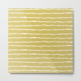 Sketched Messy Lines in Mustard Yellow Metal Print