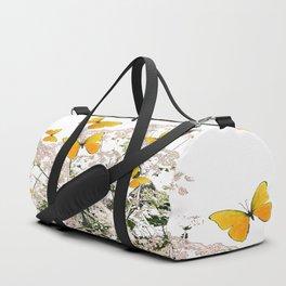 WHITE ART GARDEN ART OF YELLOW BUTTERFLIES Duffle Bag