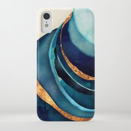 Abstract Blue with Gold iPhone Case