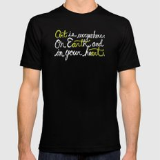 Art is everywhere: On Earth and in your heart. MEDIUM Black Mens Fitted Tee