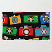 cameras Area & Throw Rugs featuring colourful cameras by vitamin