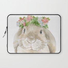Lop Rabbit Floral Wreath Watercolor Painting Laptop Sleeve