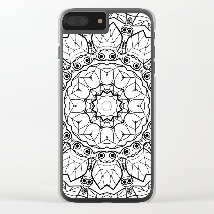 """Black and white pattern . """"Lola"""" Notepad-cover-coloring . Clear iPhone Case"""