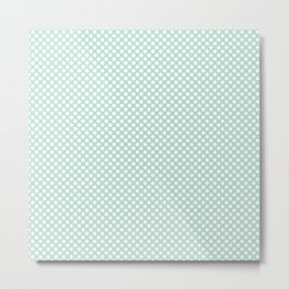 Honeydew and White Polka Dots Metal Print