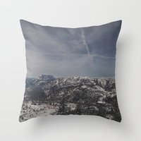 the mountains are calling Throw Pillows featuring The mountains are calling by UtArt