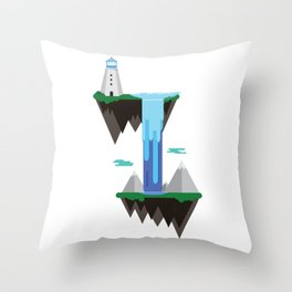 Floating islands with lighthouse Throw Pillow