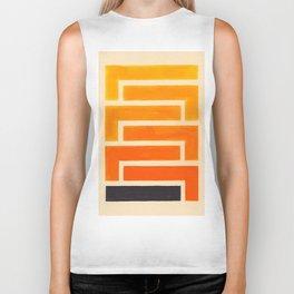 Orange & Black Geometric Pattern Biker Tank