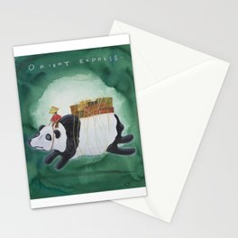 Big Panda Bear delivers gift packages like a Courier - Painting by Lisa Rotenberg Stationery Cards