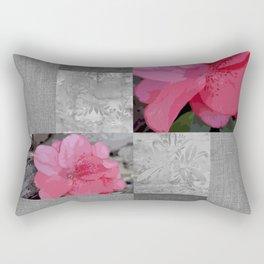Gray Burlap and Damask with Pink Azaleas - Modern Farmhouse Rectangular Pillow