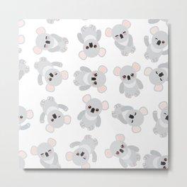 Seamless pattern - Funny cute koala on white background Metal Print