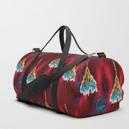 Red Peacock Feather Duffle Bag