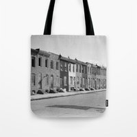 baltimore Tote Bags featuring East Baltimore by Andrew Mangum