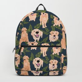 Golden Retrievers and Ferns on Navy Backpack