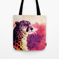 cheetah Tote Bags featuring Cheetah by Fallen Apple Designs