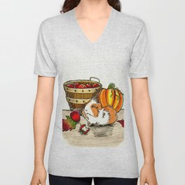 Autumn guinea pig with apples and pumpkin Unisex V-Neck
