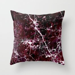 Modern abstract burgundy white stylish marble Throw Pillow