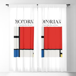 Mondrian - Composition with Red, Blue and Yellow Blackout Curtain