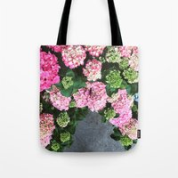 hydrangea Tote Bags featuring Hydrangea  by Chelsea Victoria