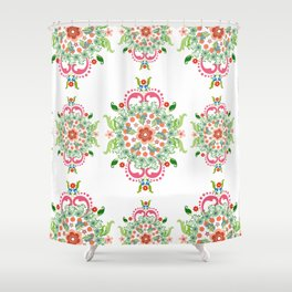 Folk Art Medallions on white Shower Curtain