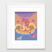 monkey island Framed Art Prints featuring monkey by mleko