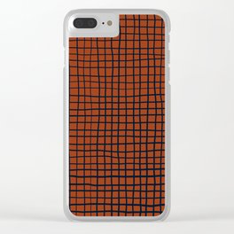 Navy and Rust (XV) Thread Pattern Clear iPhone Case