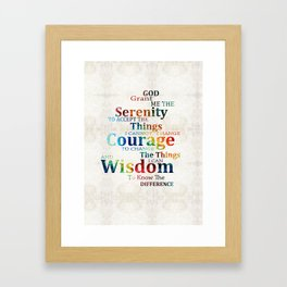 Colorful Serenity Prayer by Sharon Cummings Framed Art Print