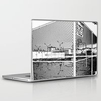 outdoor Laptop & iPad Skins featuring outdoor basketball court black and white by Dragonheart