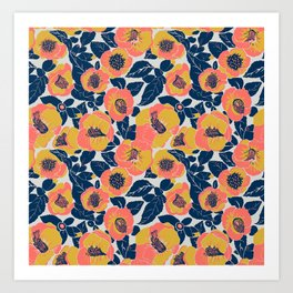 Living Coral Sunny Yellow Gold Flowers, Summer Floral Art Print