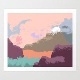 Pink Sky Mountain Art Print