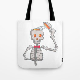 Funny skeleton with bowtie. Tote Bag