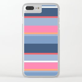 70s Style Simple Colored Stripes - Blues  Pinks Peach Clear iPhone Case