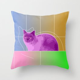 Neon Purple Cat on Colorful Background Throw Pillow