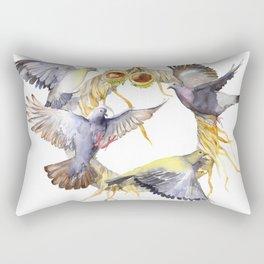 Autumn in the city Pigeon Wreath Rectangular Pillow
