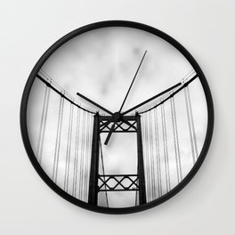 Vintage Monochromatic Black and White Bridge with Clouds Fine Art Print Wall Clock