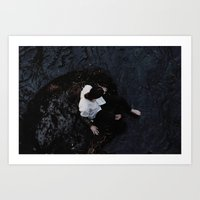 Woman washing her feet in the river Art Print