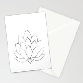 Silver Foil Lotus Flower Stationery Cards