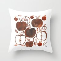 oana befort Throw Pillows featuring NOT GRANNY'S APPLES by Oana Befort