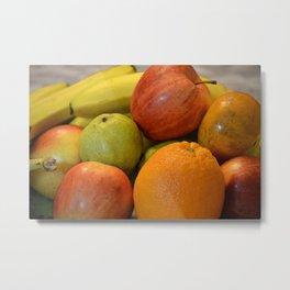Fruits tray, pear, orange,apple and banana. Metal Print