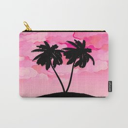 Palm Tree Silhouette Against Dawn Pink with Clouds Carry-All Pouch