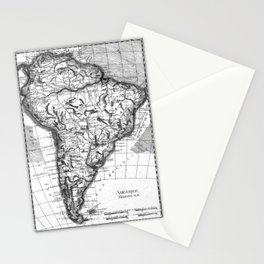 Vintage Map of South America (1780) BW Stationery Cards