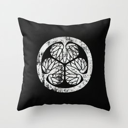 Tokugawa Clan · White Mon · Distressed Throw Pillow